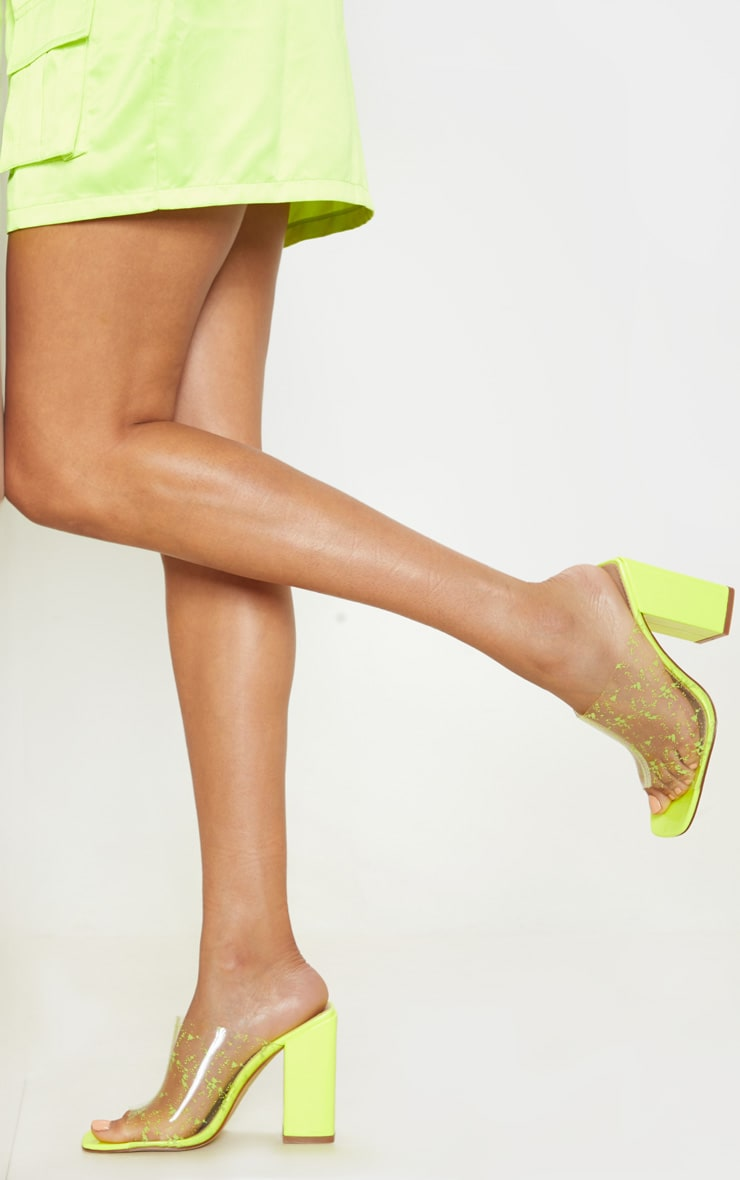 Neon Lime Paint Splash Clear Block Heel Mule 2