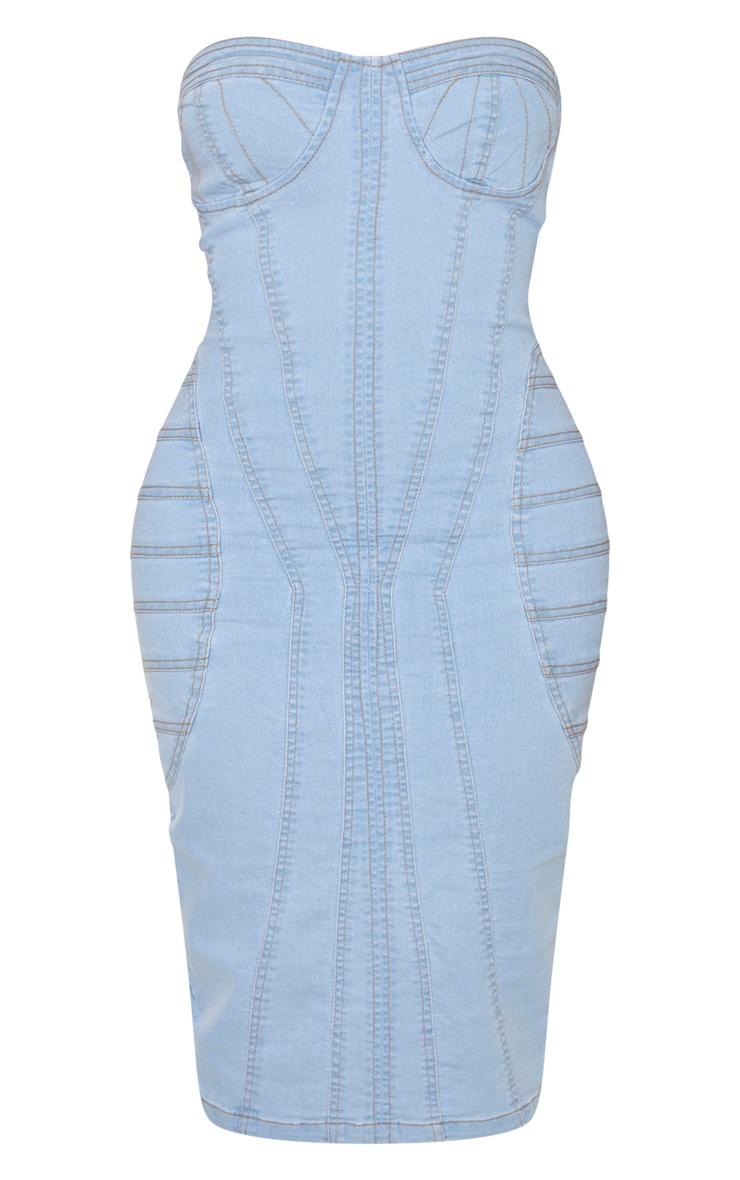 Shape Light Blue Wash Denim Corset Detail Midi Dress 3