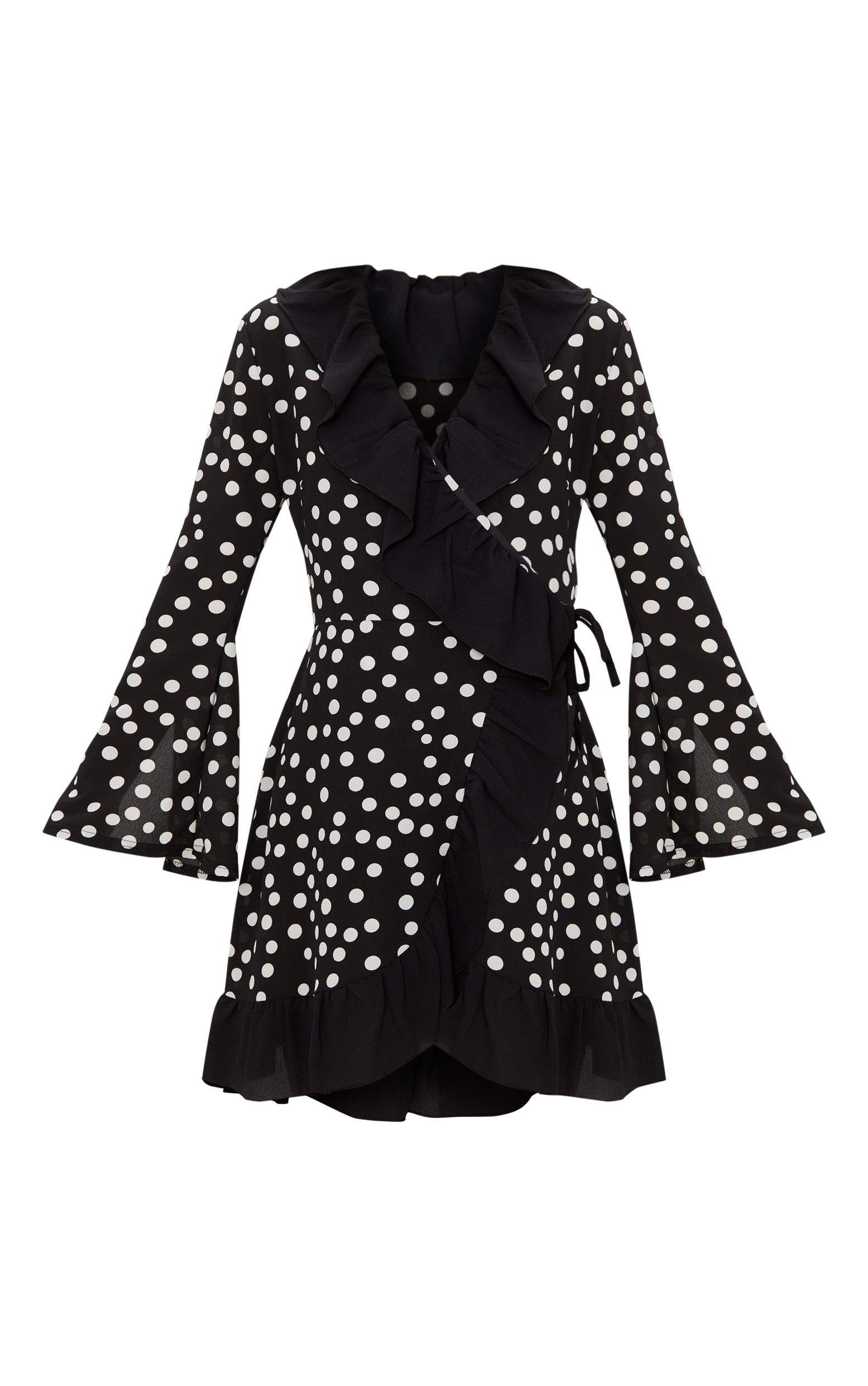 Black Polka Dot Flare Sleeve Frill Detail Tea Dress 3