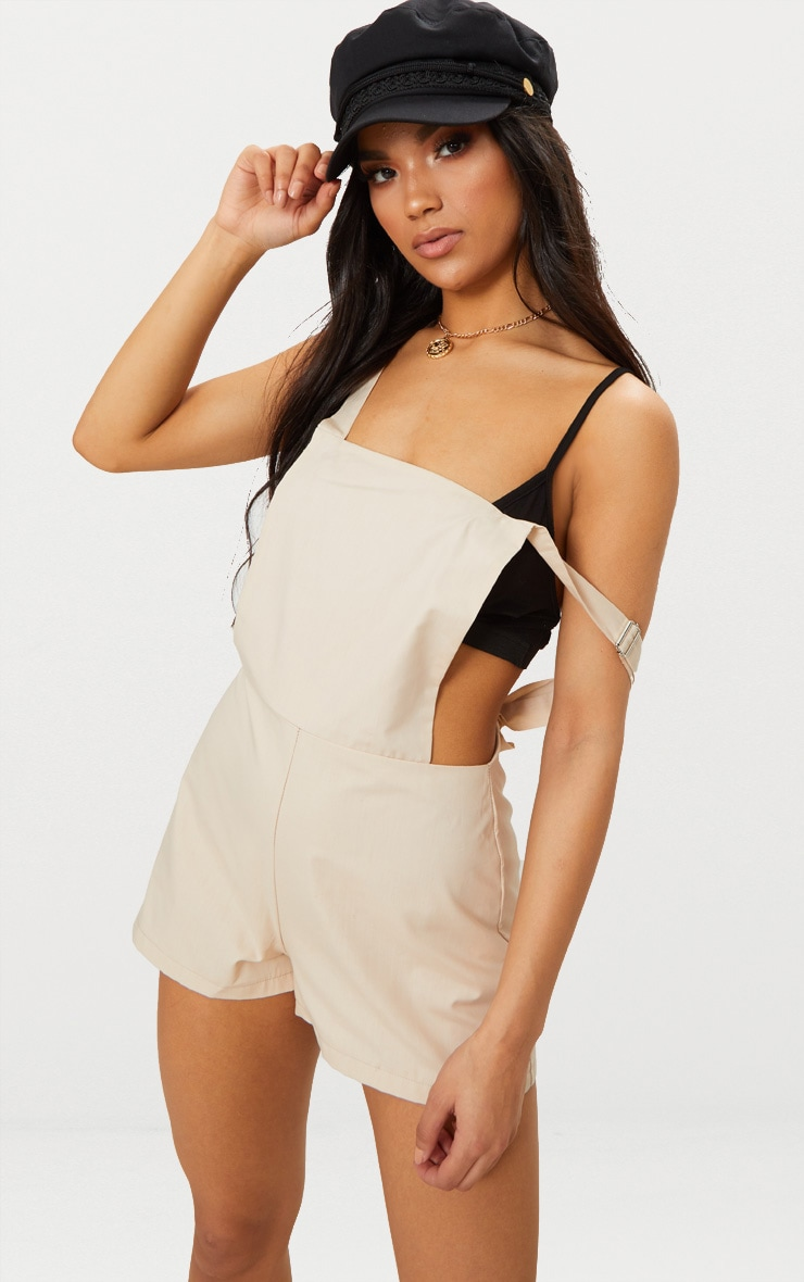 Clearance Get Authentic Cheap Sale Visa Payment PRETTYLITTLETHING Stone Dobby Mesh Cold Shoulder Playsuit Geniue Stockist MQ76aEwyVH