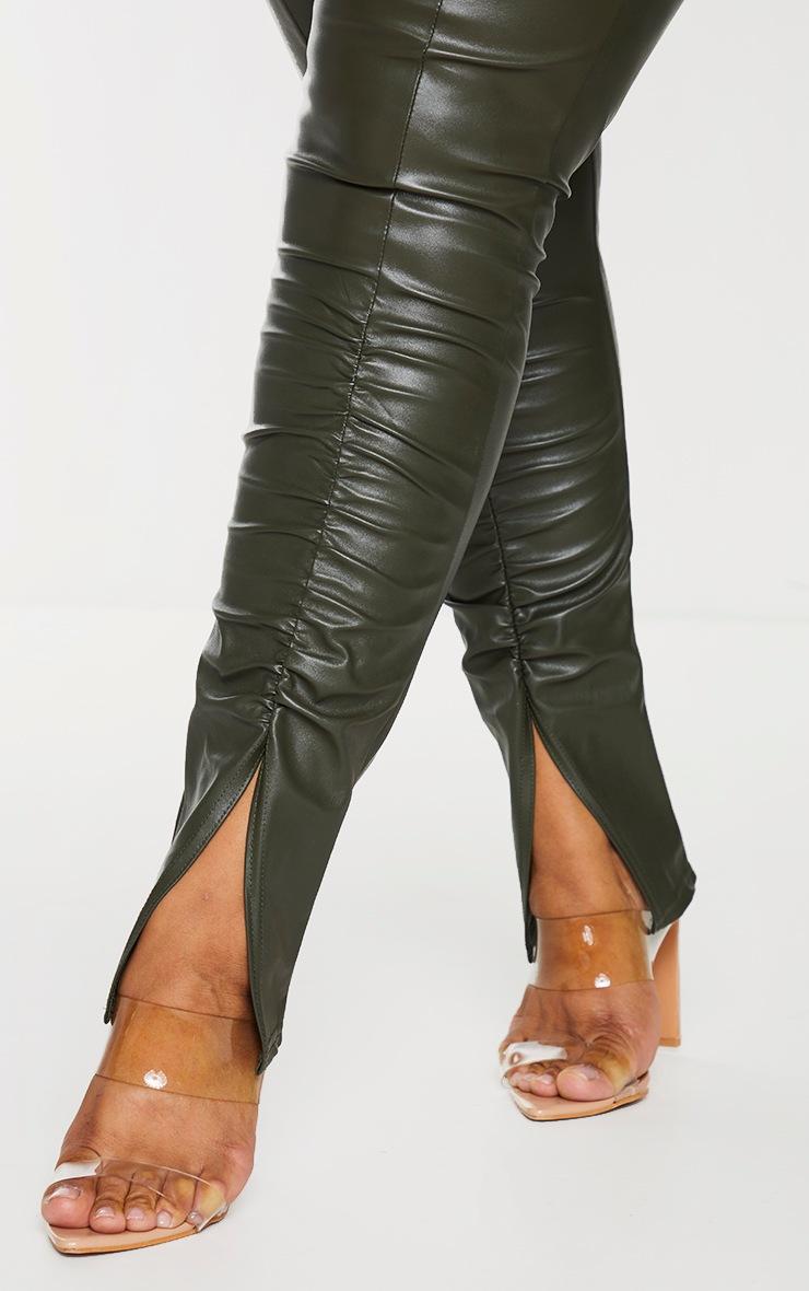 Plus Khaki PU Ruched Pants 4