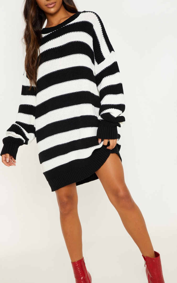 Monochrome Striped Knitted Jumper  5