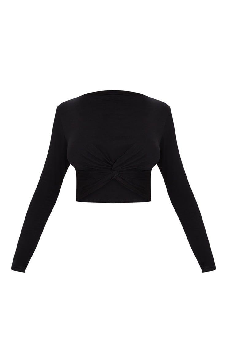 Black Jersey Long Sleeve Knot Hem Crop Top  3