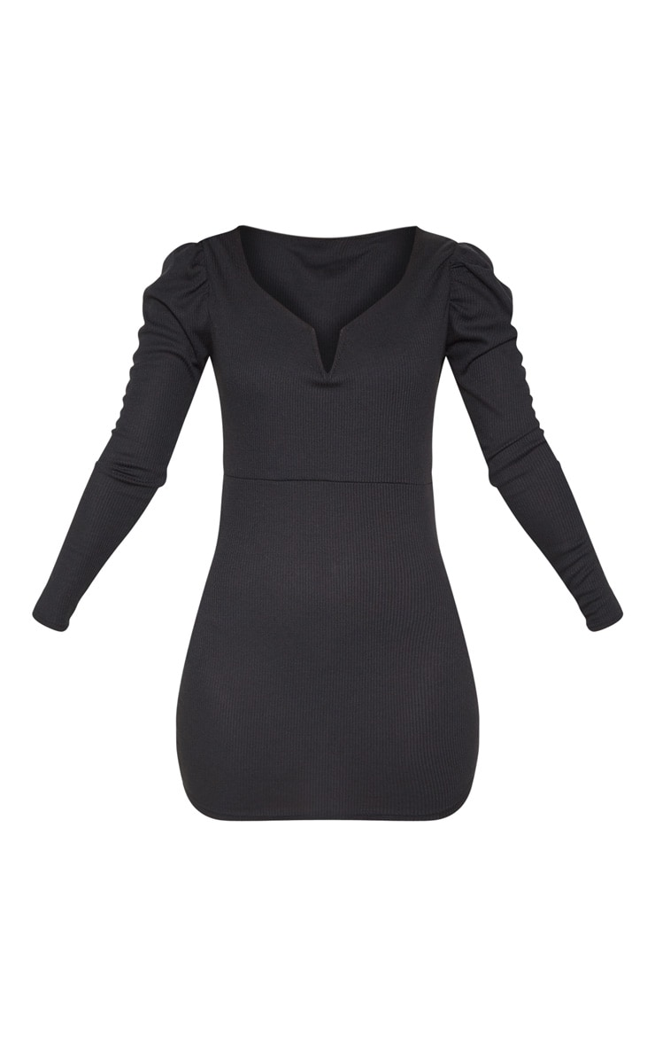 Petite Black Ribbed Long Sleeve Bodycon Dress 3