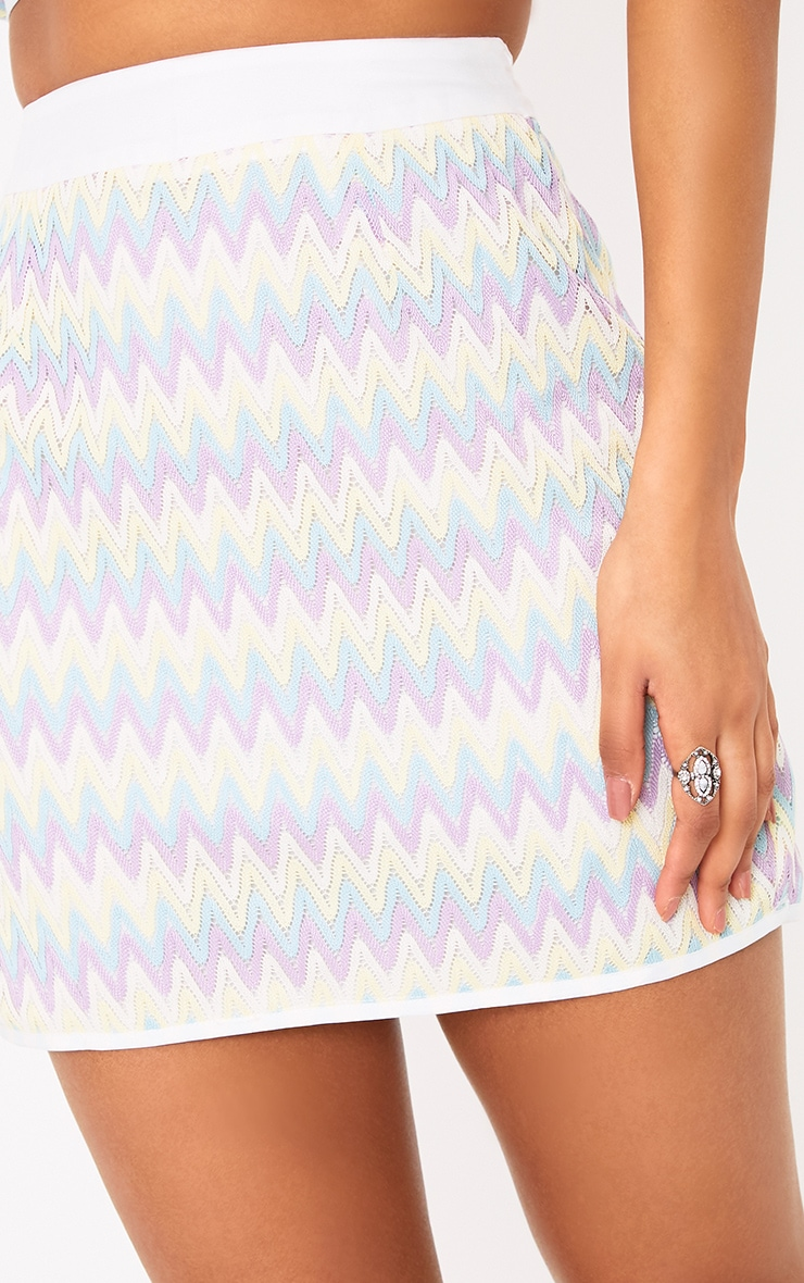 Amette Lilac Chevron Mini Skirt  6