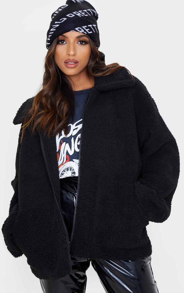 Black Borg Zip Up Oversized Jacket 1