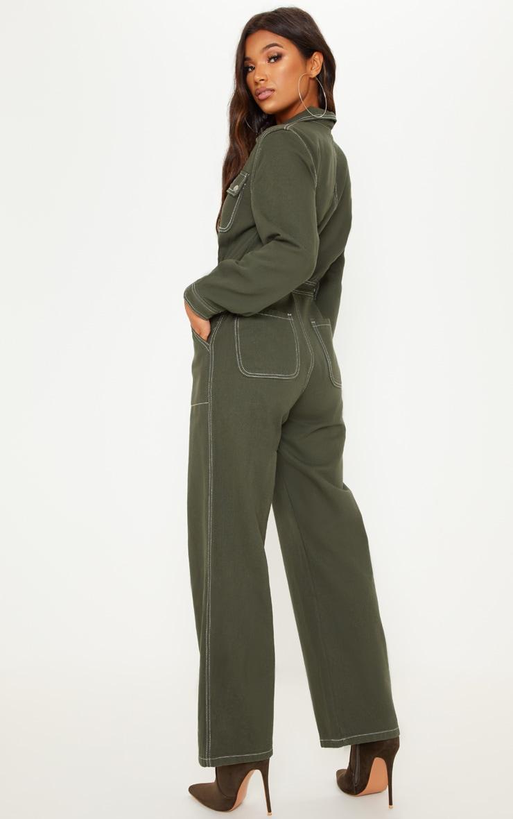 Khaki Cropped Leg Denim Boilersuit 2