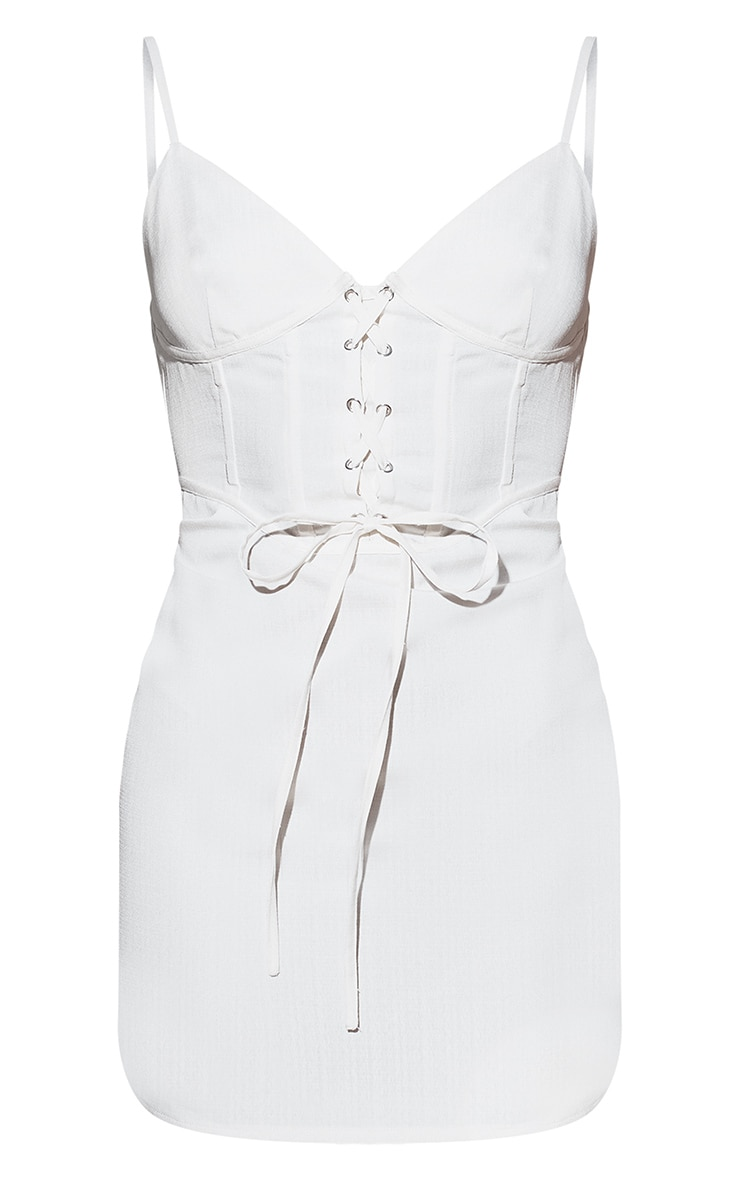 White Lace Up Corset Bodycon Dress 5