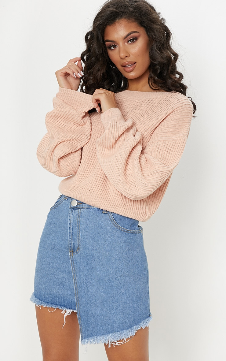 Blush Wide Sleeve Knitted Jumper  1