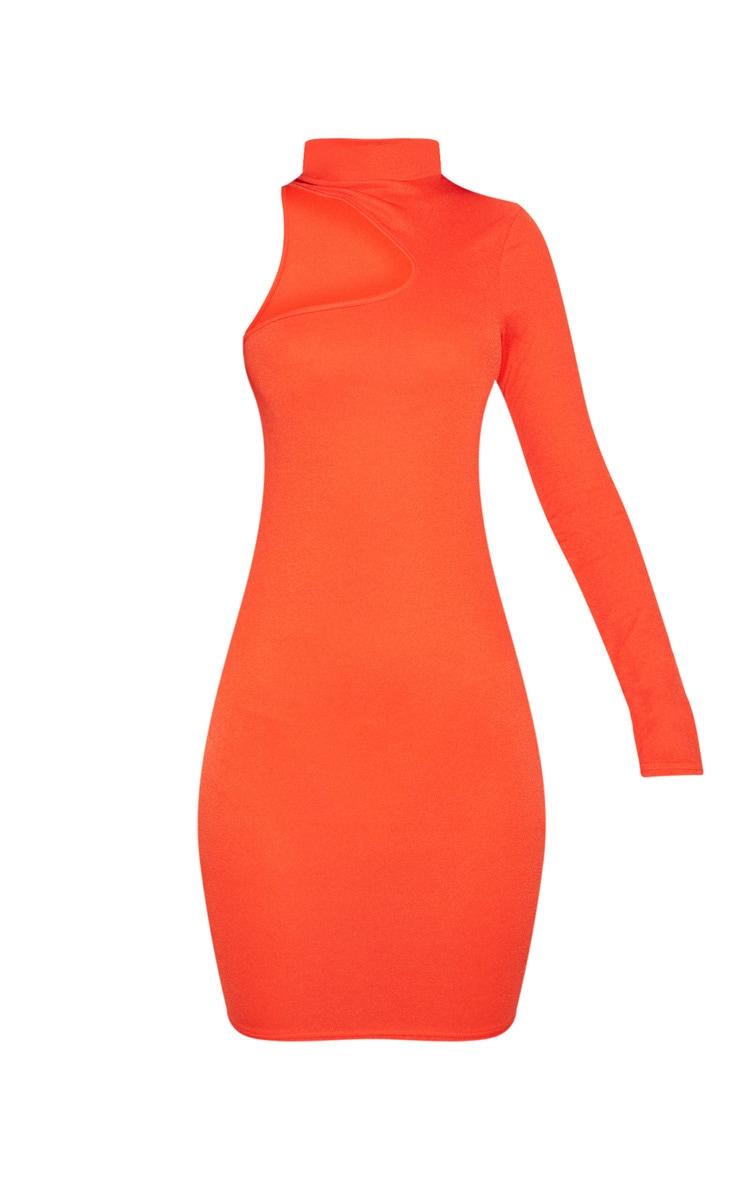 Bright Orange High Neck Asymmetric Sleeve Bodycon Dress 3