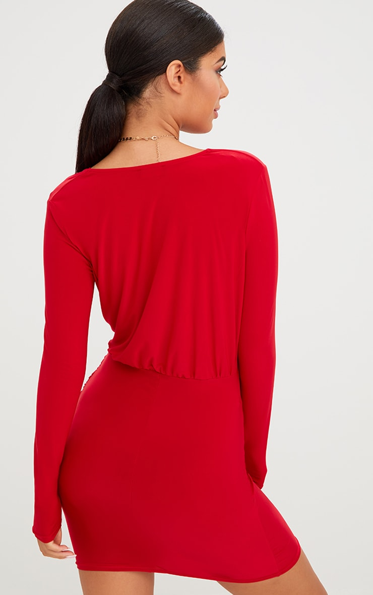 Red Slinky Ruched Wrap Over Bodycon Dress 2