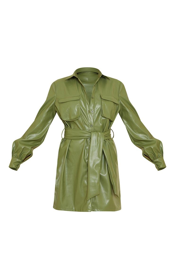Khaki Faux Leather Pocket Detail Shirt Dress 5