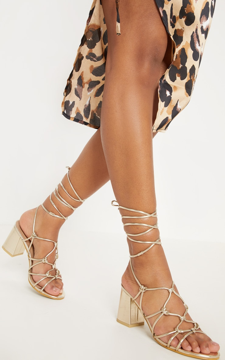 Gold Lace Up Sandals