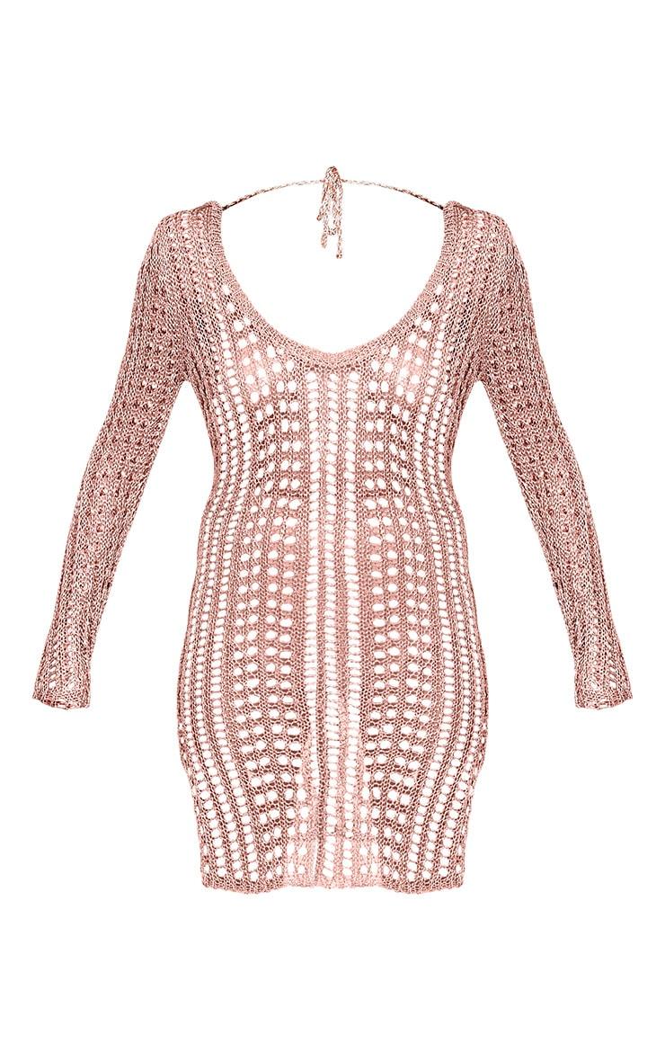 Jasamin robe mini tricotée or rose métallisé à dos échancré 3