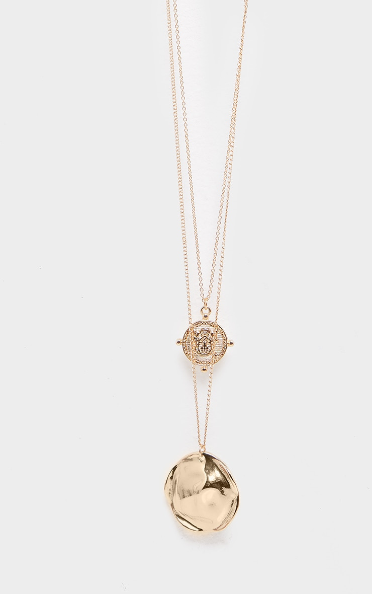 Gold Hammered Disc And Coin Double Layer Necklace 3
