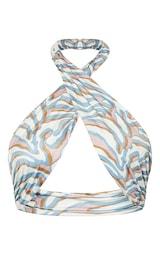 Cream Zebra Print Slinky Cross Front Halterneck Underbust Bralet 5