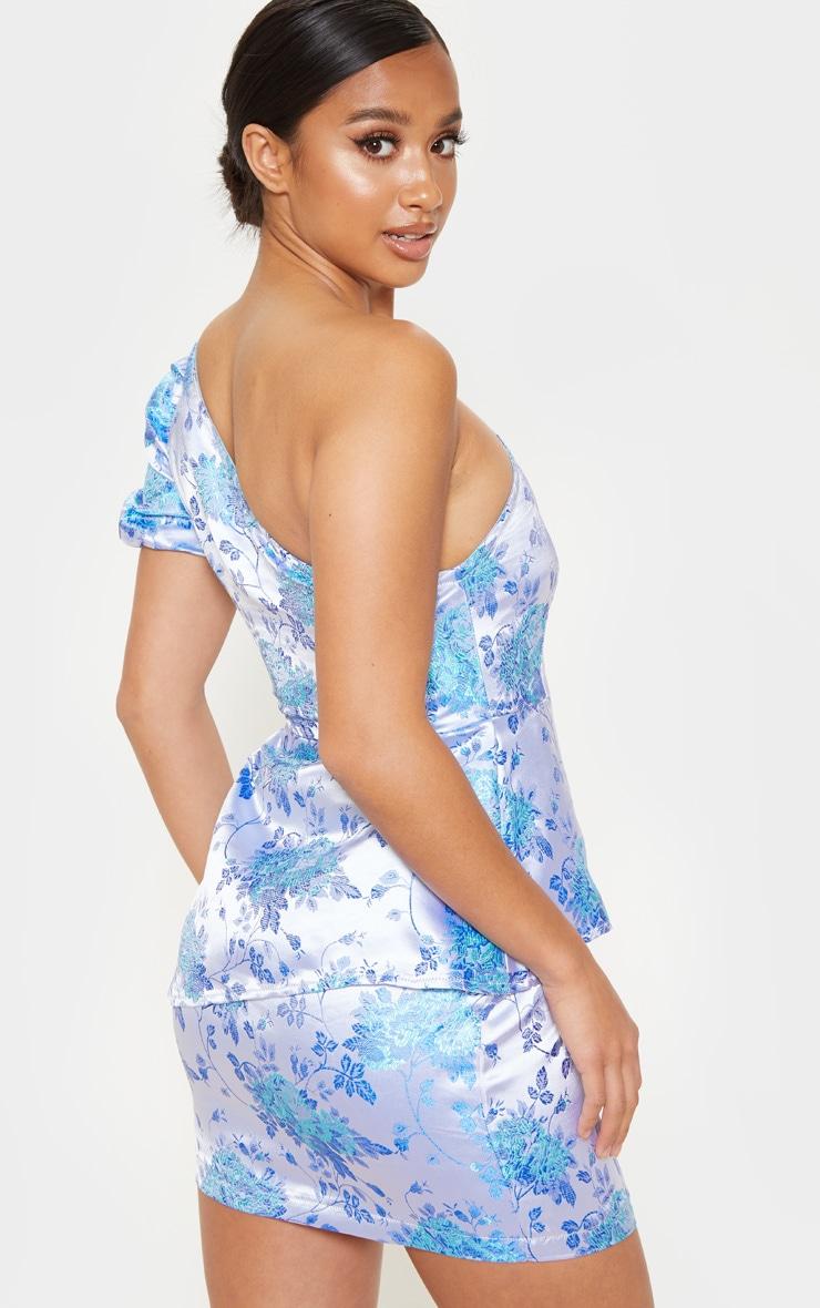 Petite Blue Jacquard One Shoulder Bodycon Dress 2
