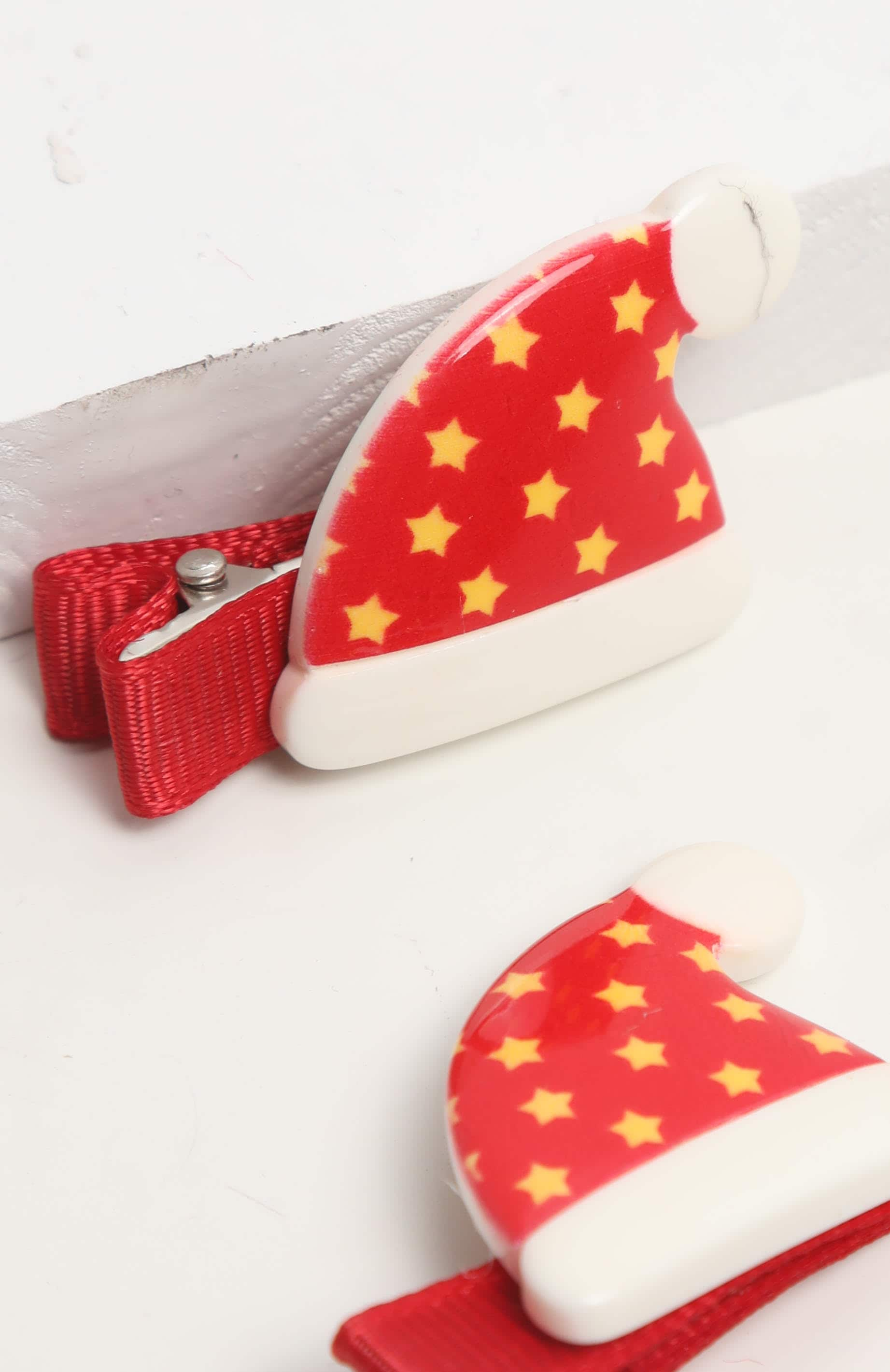 Red Santa Hat Hair Clips 2 Pack 3