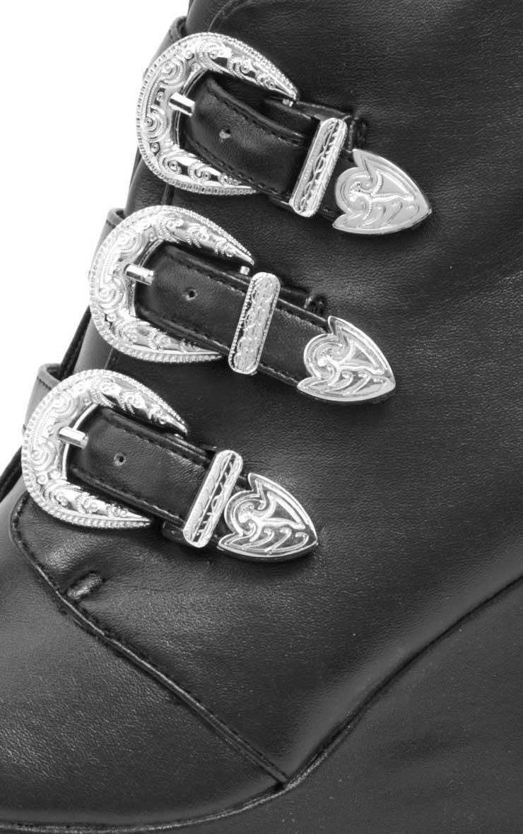 Skylar Black Leather Platform Boots 4
