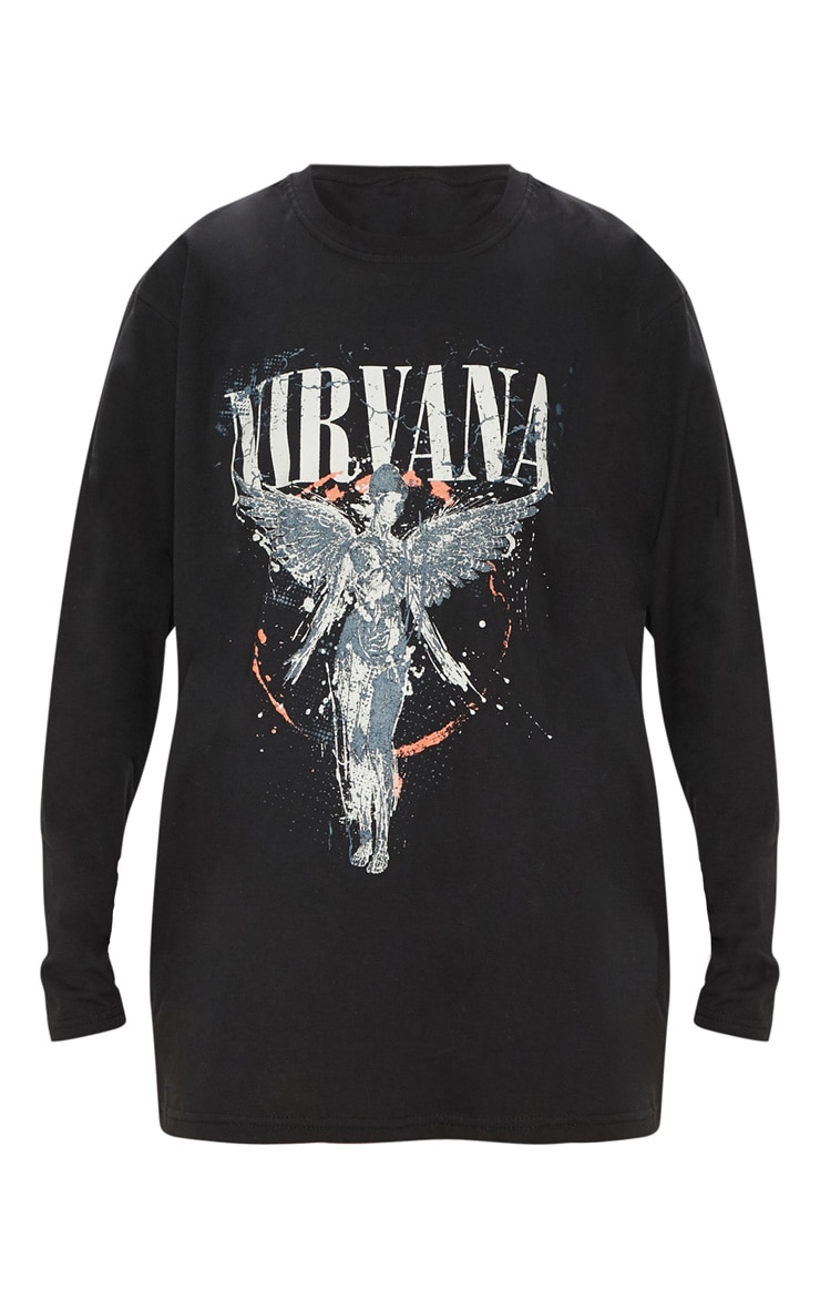 Black Nirvana Angel Print Oversized T shirt 3