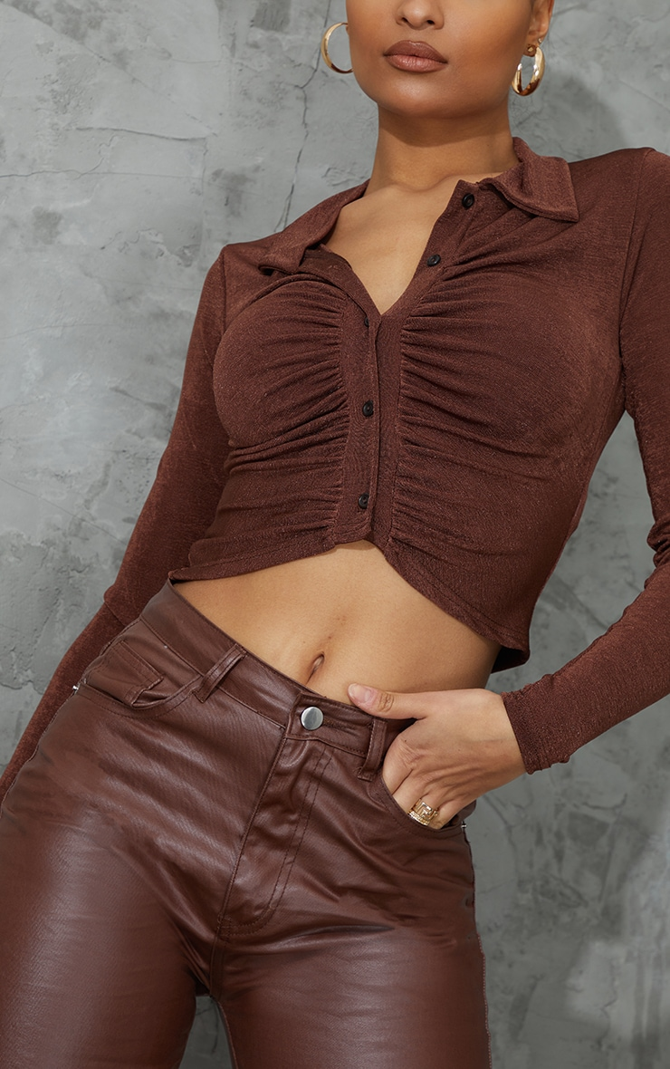 Chocolate Acetate Slinky Ruched Front Shirt 4