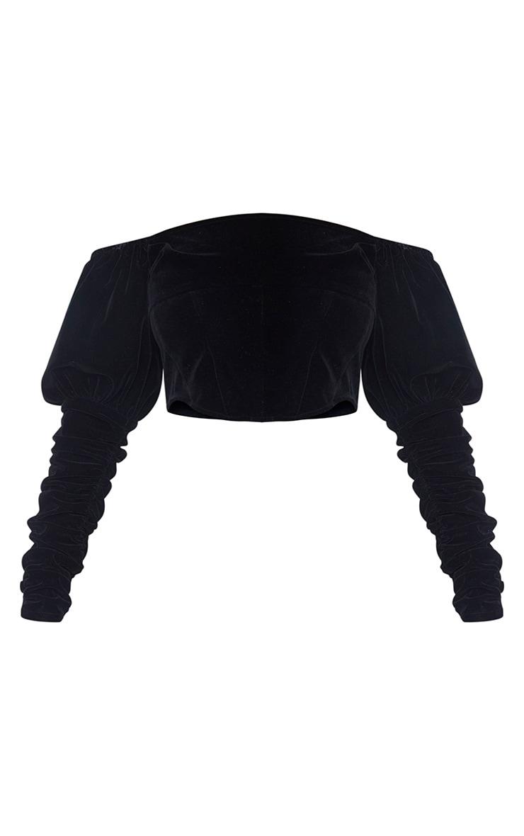 Black Velvet Puff Sleeve Bardot Crop Top 5