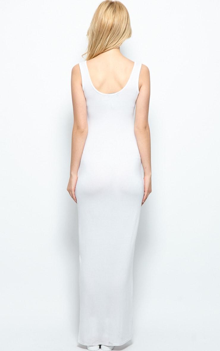 Zoe White Jersey Scoop Neck Maxi Dress 2