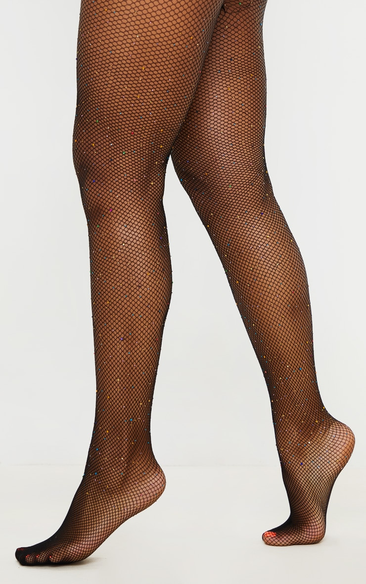 Multi Colour Diamante Fishnet Tights 2