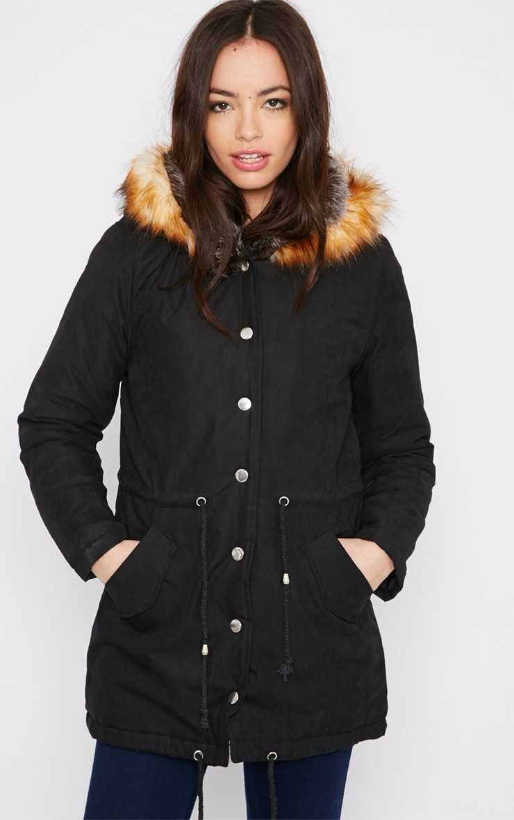 Tawny Black Fur Lined Parka Coat  4