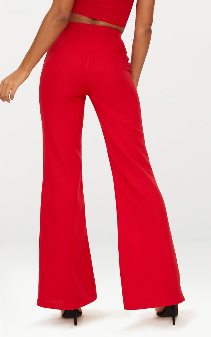 Red Popper Wide Leg Trousers  3