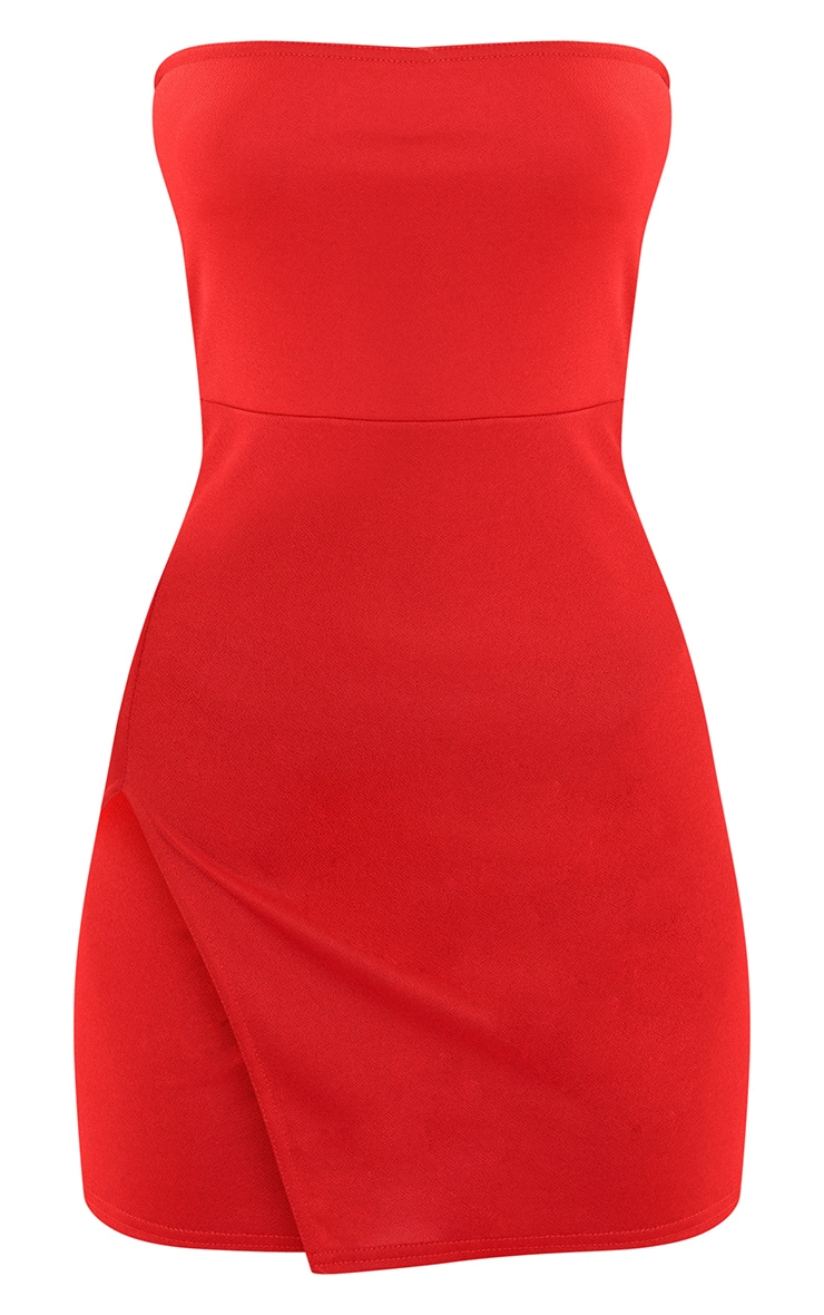 Red Crepe Split Side Bandeau Bodycon Dress 4