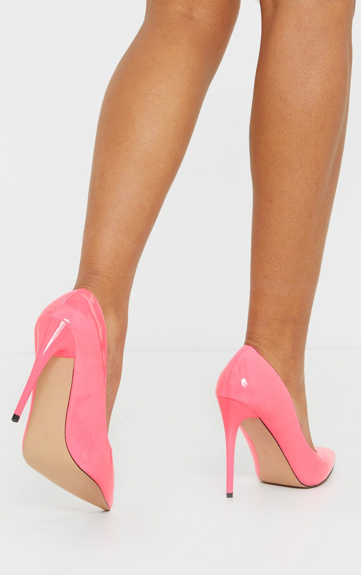 Neon Pink Patent PU High Court Heel Shoes 2