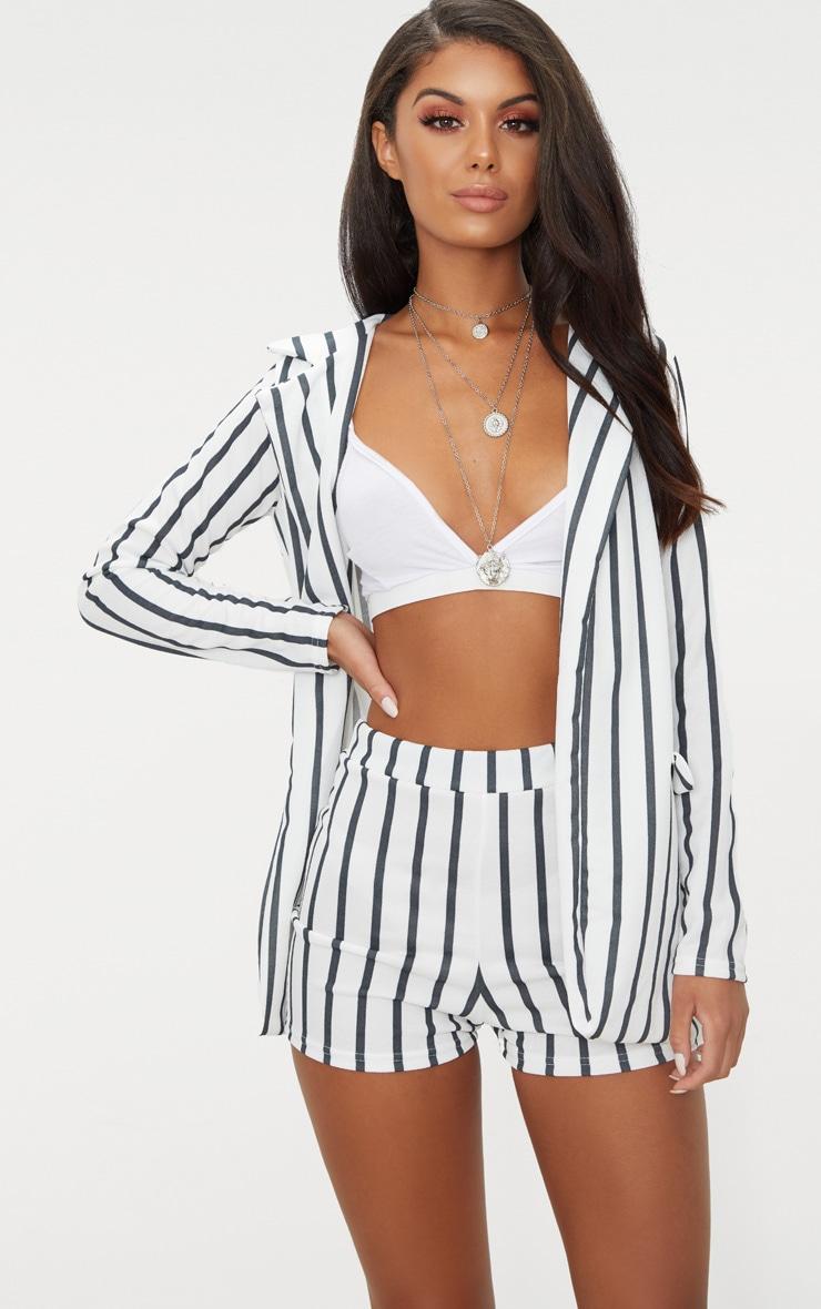 Black Stripe Suit Shorts 1