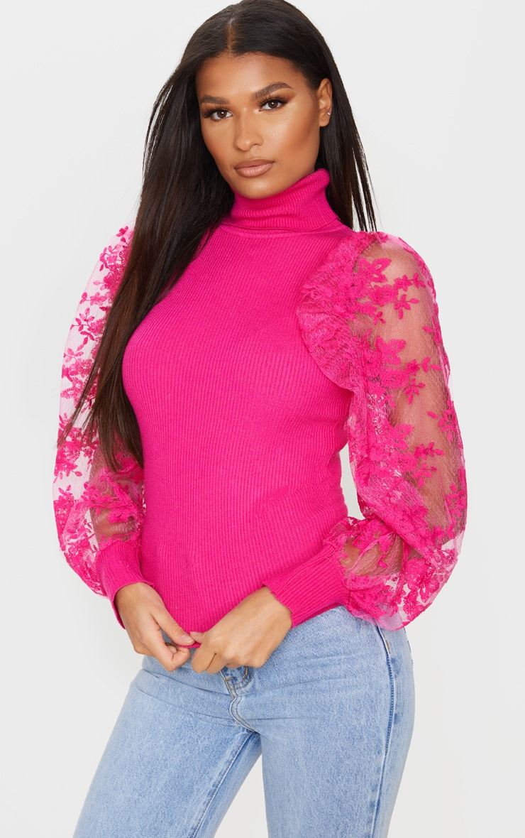 Pink Embroidered Mesh Sleeve Knitted Sweater 1