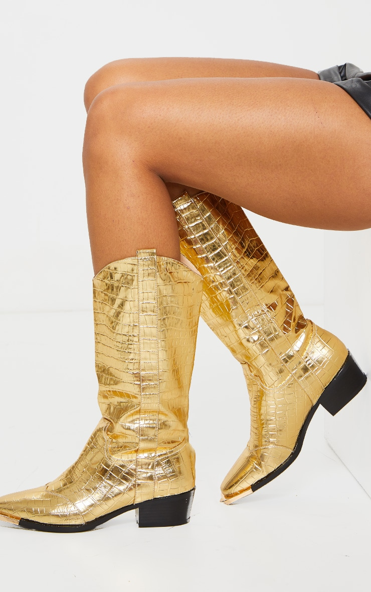 Gold Croc Square Toe Western Boots 1