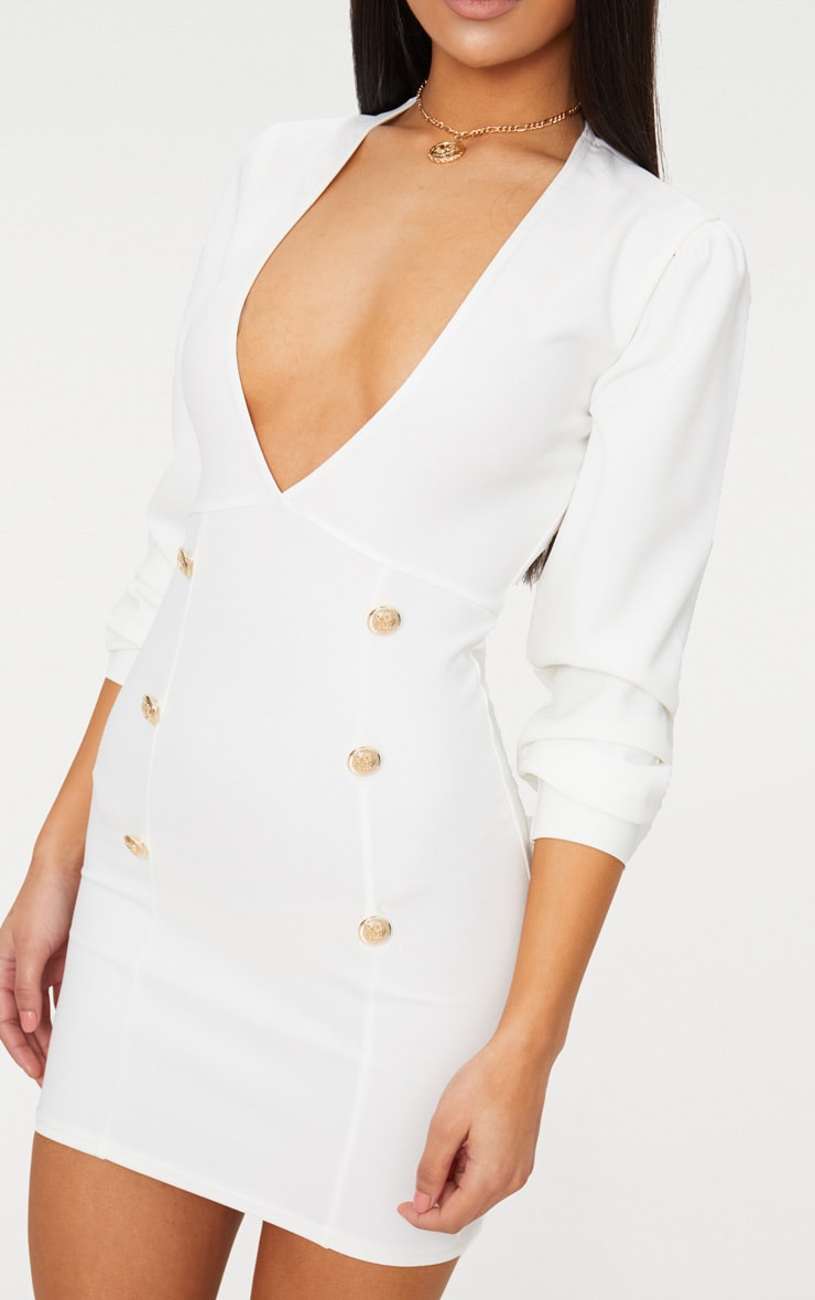 White Plunge Tux Bodycon Dress  5