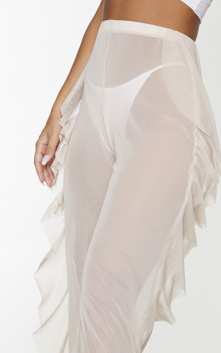 Nude Frill Mesh Beach Trousers 4