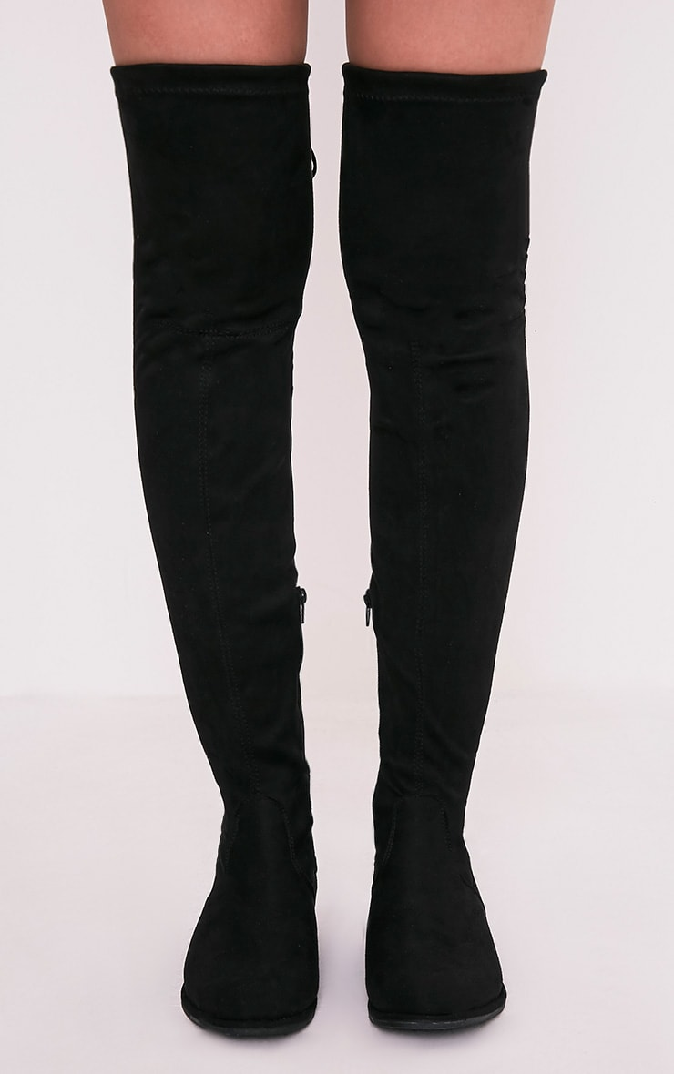 Hillary Black Faux Suede Over The Knee Flat Boots 3