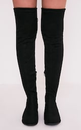 e51faa87745 Hillary Black Faux Suede Over The Knee Flat Boots - Boots ...