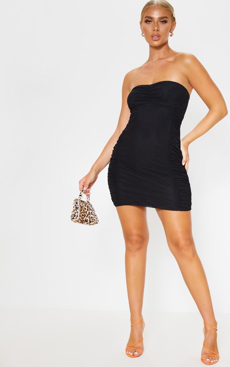 Black Mesh Bandeau Ruched Detail Bodycon Dress 4