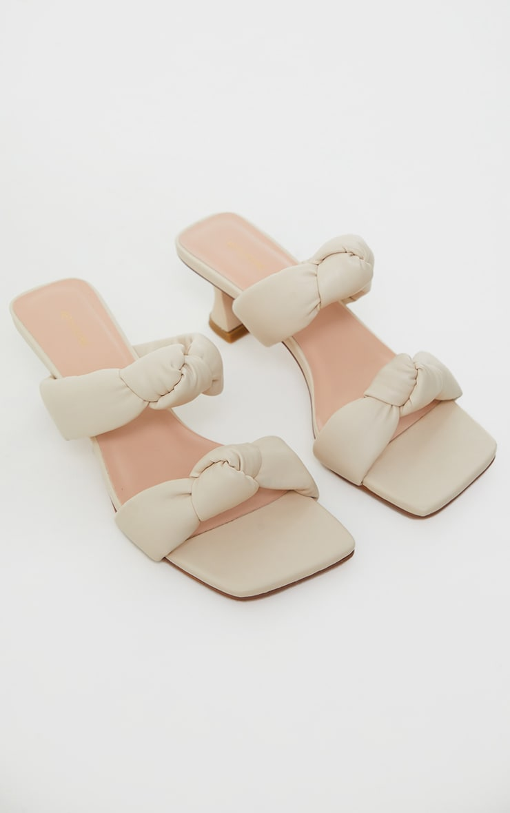 Cream Padded Knotted Twin Strap Low Heel Mules 3