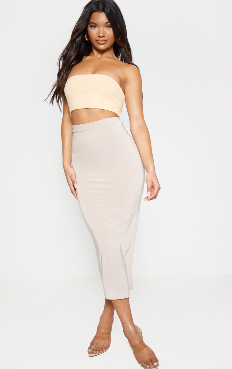 Peach Crepe Bandeau Crop Top 4