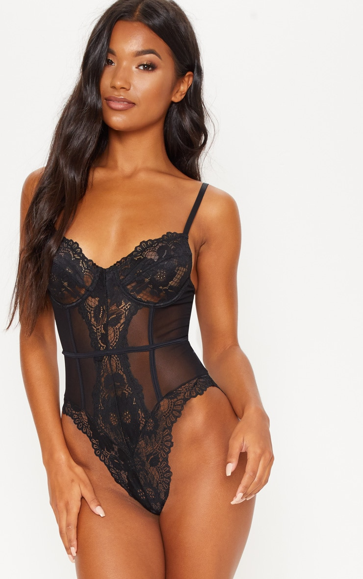 Black Underwired Cage Detail Lace Body 1