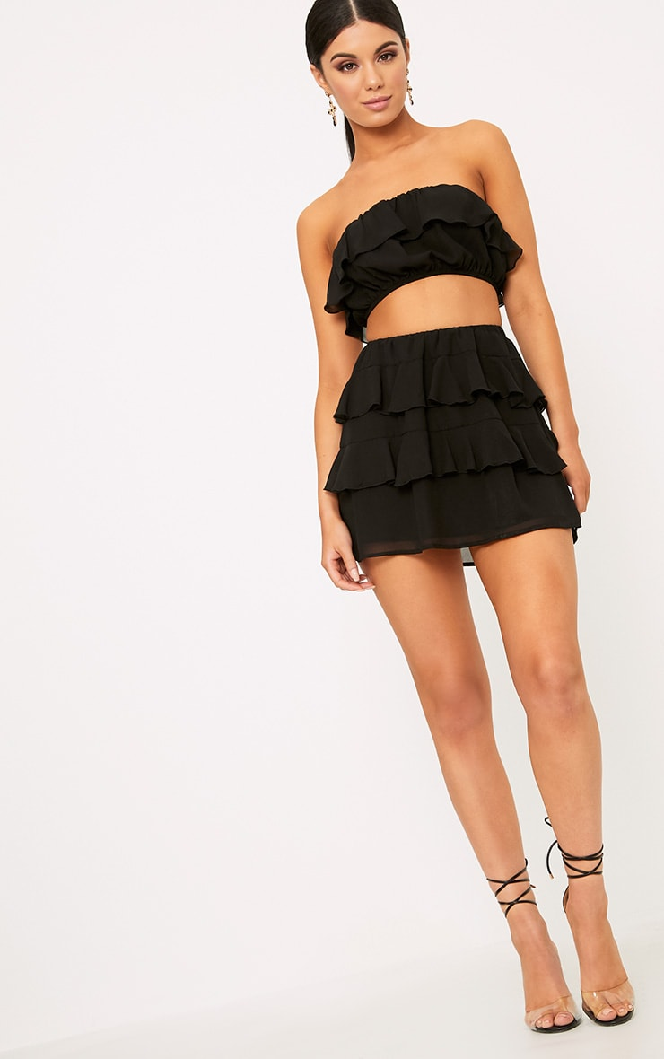 Poppey Black Ruffle Mini Skirt 5