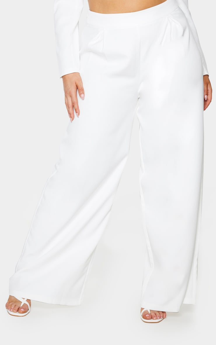 Plus White Pleat Detailed Wide Leg Pants 2