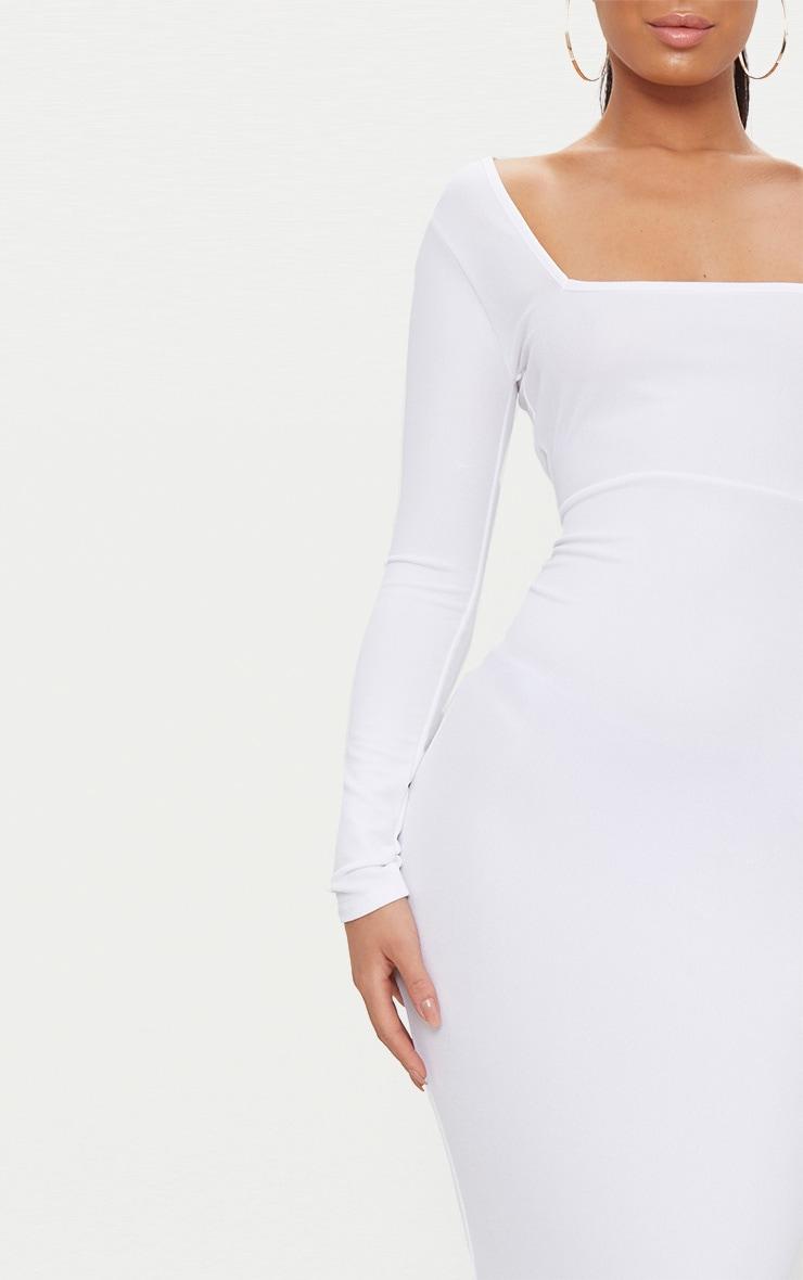 White Square Neck Long Sleeve Midaxi Dress 5