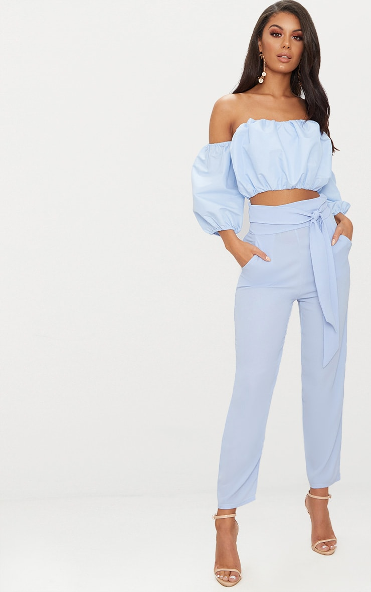 Blue Pebble Crepe Tie Waist Cigarette Trouser 1