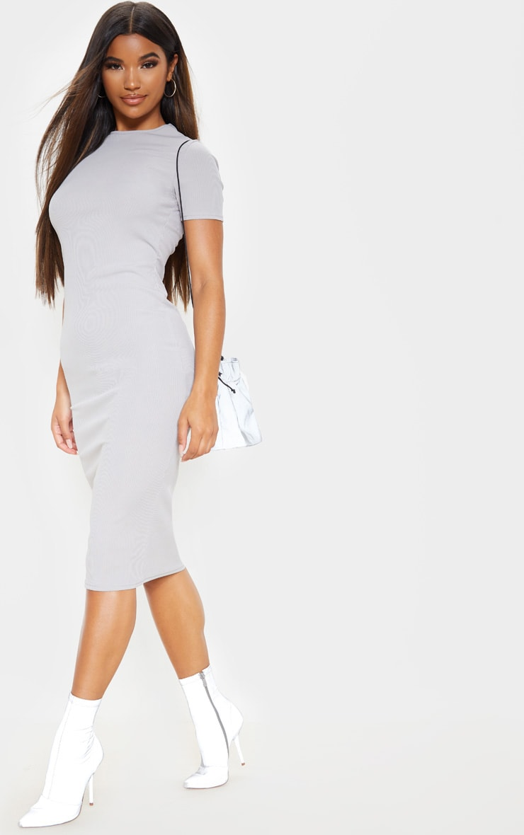 Grey Ribbed Crew Neck Midi Dress 4