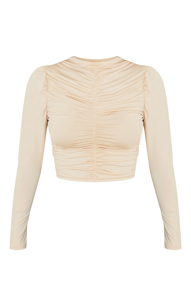 Cream Soft Touch Ruched Long Sleeve Crop Top 5