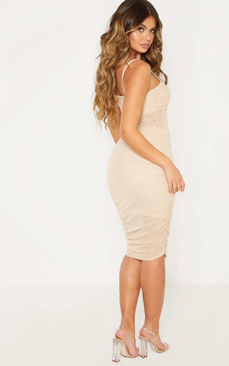Stone Strappy Mesh Insert Ruched Midi Dress 2